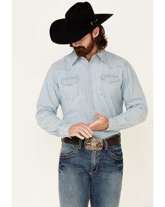 Stetson Men's Light Blue Original Rugged Denim Long Sleeve Snap Western Shirt , Blue, hi-res