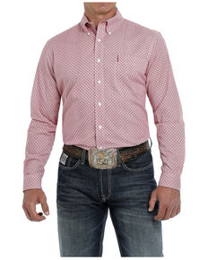 Cinch Men's Modern Fit Red Geo Print Long Sleeve Button-Down Western Shirt , Red, hi-res
