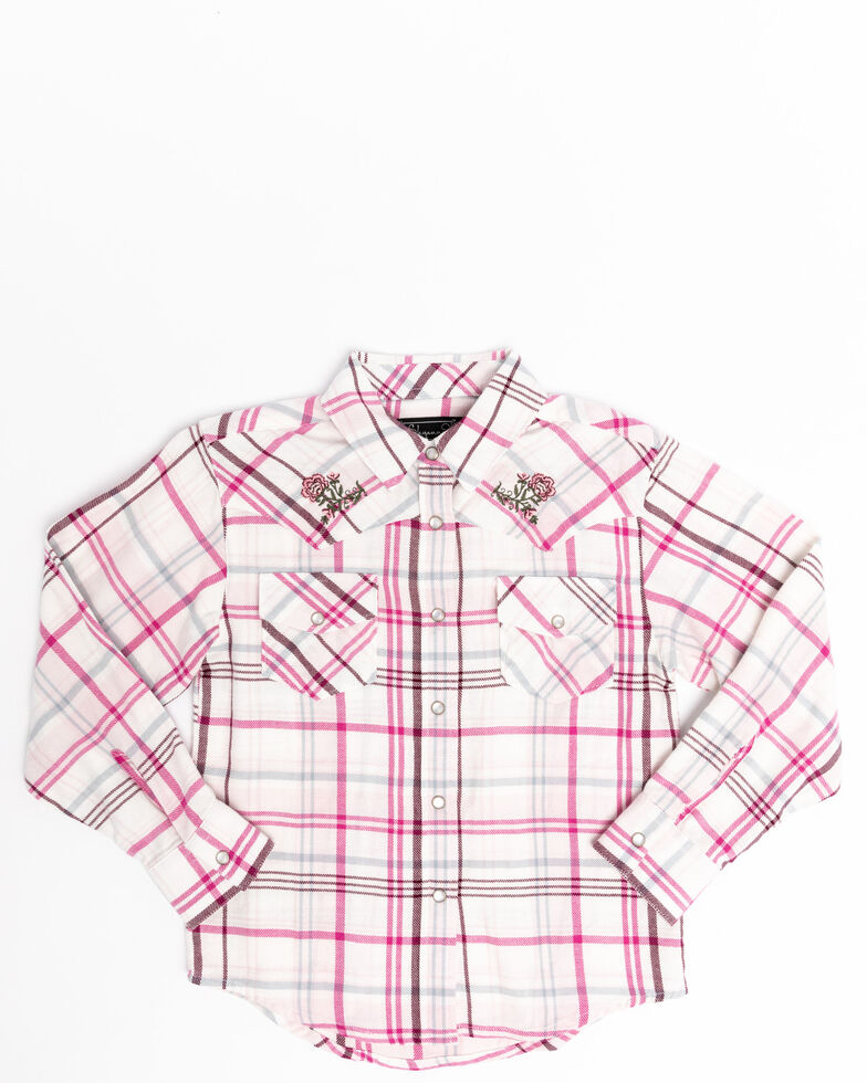 Shyanne Toddler Girls' Plaid Woven Pearl Snap Plaid Long Sleeve Shirt, Pink, hi-res