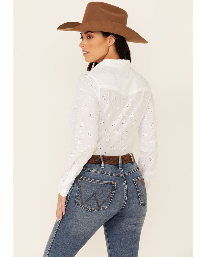 Stetson Women's White Eyelet Solid Long Sleeve Button-Down Western Shirt , White, hi-res