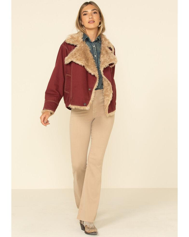STS Ranchwear Women's Hally Rose Faux Fur Denim Jacket , Maroon, hi-res