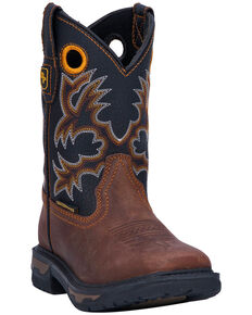 Dan Post Boys' Ridge Runner Western Boots - Wide Square Toe, Brown, hi-res