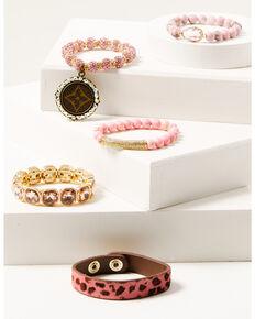 Keep it Gypsy Women's 5-piece Gold & Pink Leopard Beaded Bracelet Set, Pink, hi-res