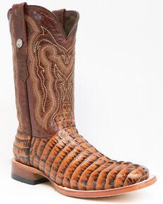 Tanner Mark Men's Caiman Tail Print Western Boots - Square Toe, Cognac, hi-res