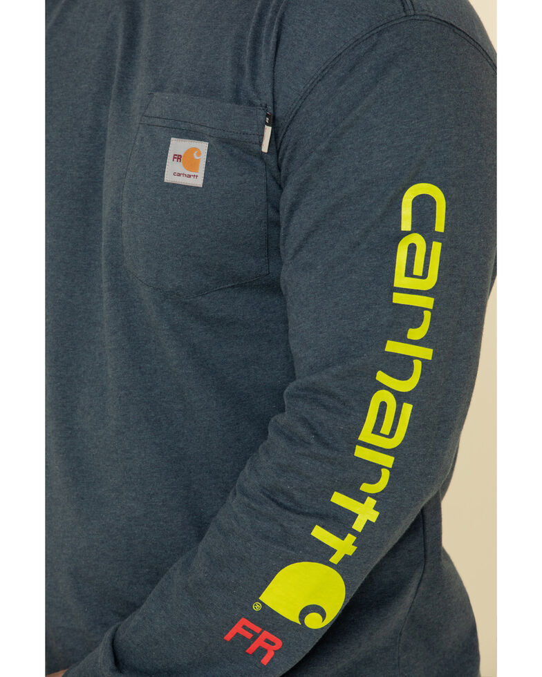 Carhartt Men's Dark Blue M-FR Midweight Signature Logo Long Sleeve Work Shirt, Navy, hi-res