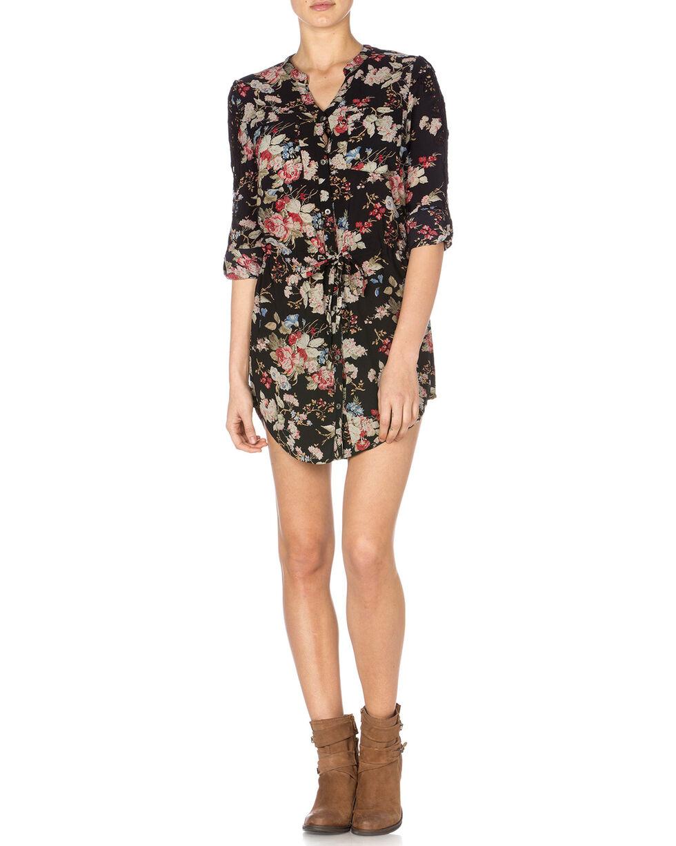 Miss Me Floral Front Dress, Black, hi-res