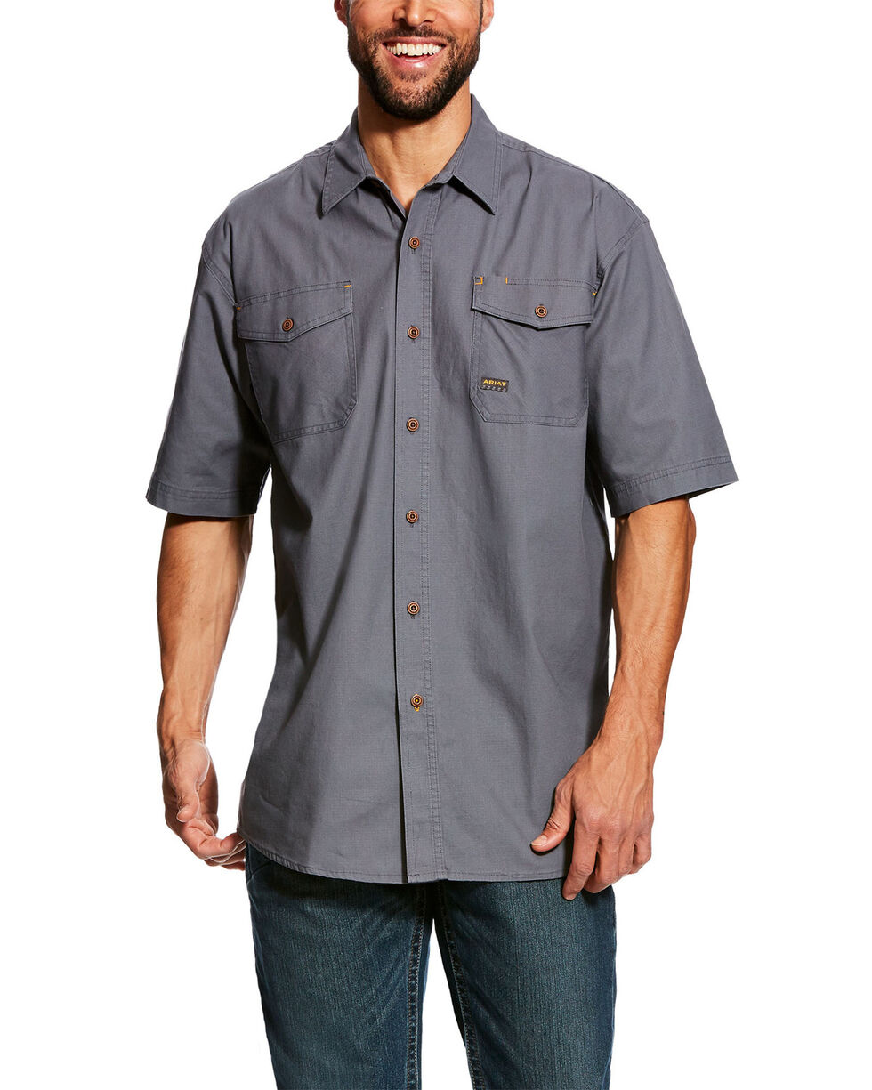 Ariat Men's Steel Rebar Made Tough Vent Short Sleeve Work Shirt - Tall , Grey, hi-res