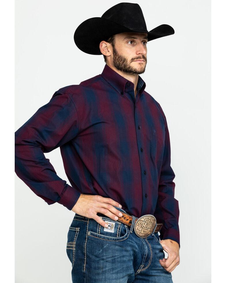 Stetson Men's Satin Ombre Plaid Long Sleeve Western Shirt , Blue, hi-res
