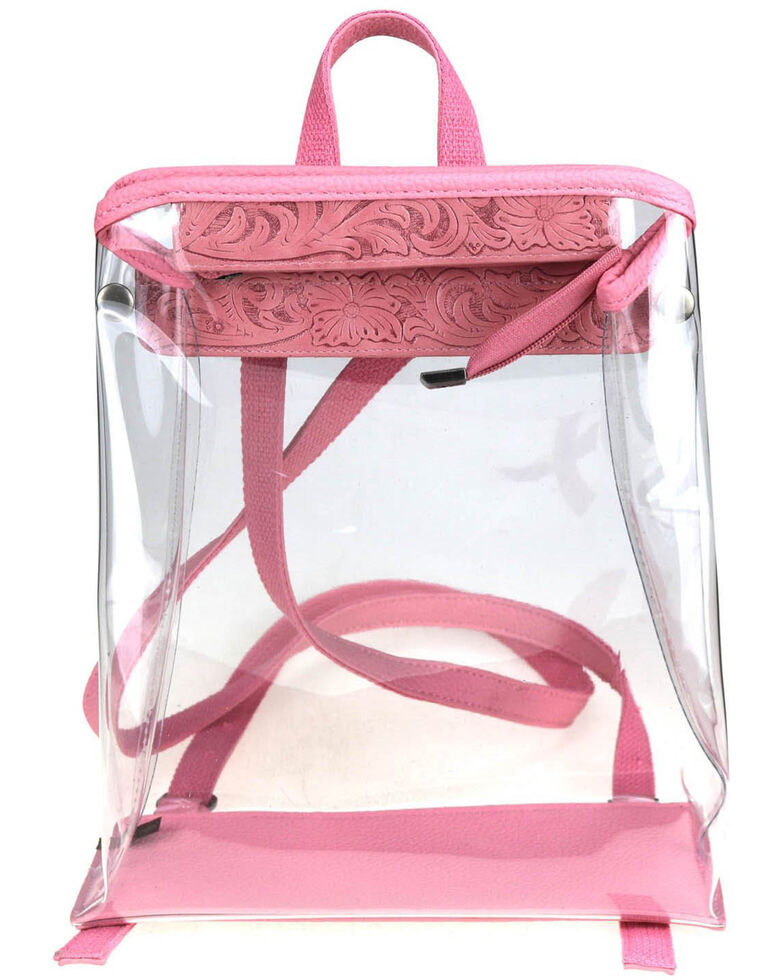 Montana West Women's Savannah Clear Tooled Backpack, Pink, hi-res