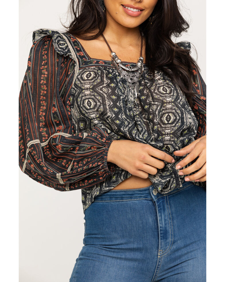 Free People Women's Mostly Meadow Blouse, Black, hi-res