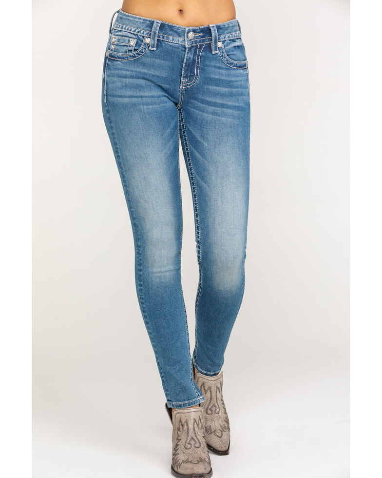 Miss Me Women's Floral Horse Butterfly Light Skinny Jeans , Blue, hi-res