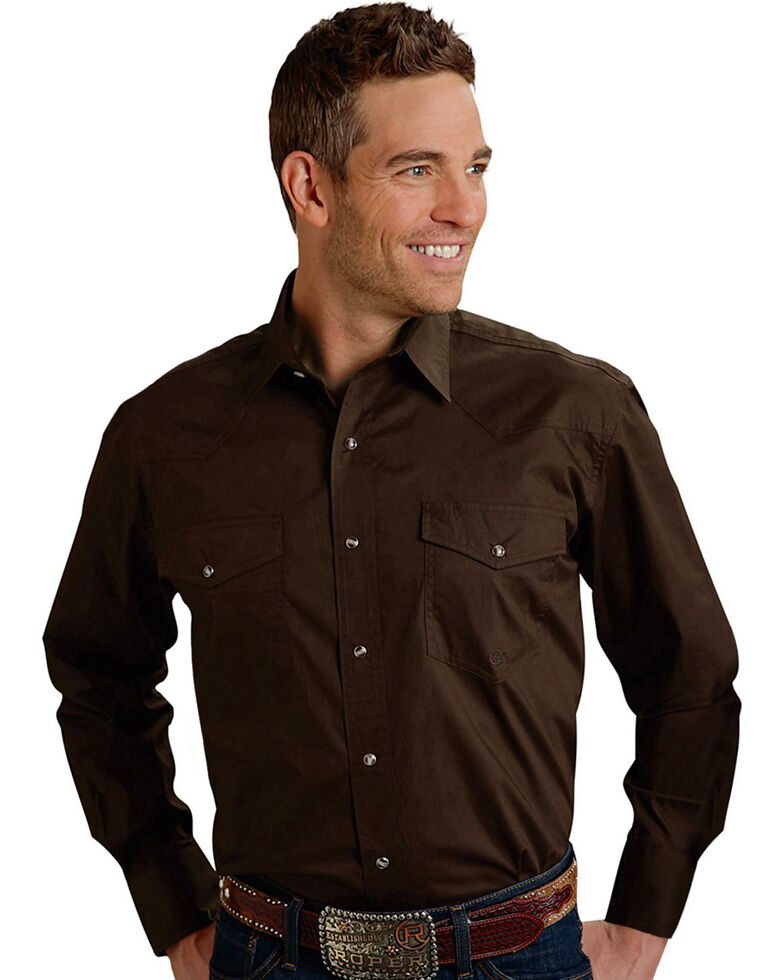 Roper Men's Amarillo Collection Western Shirt, Brown, hi-res