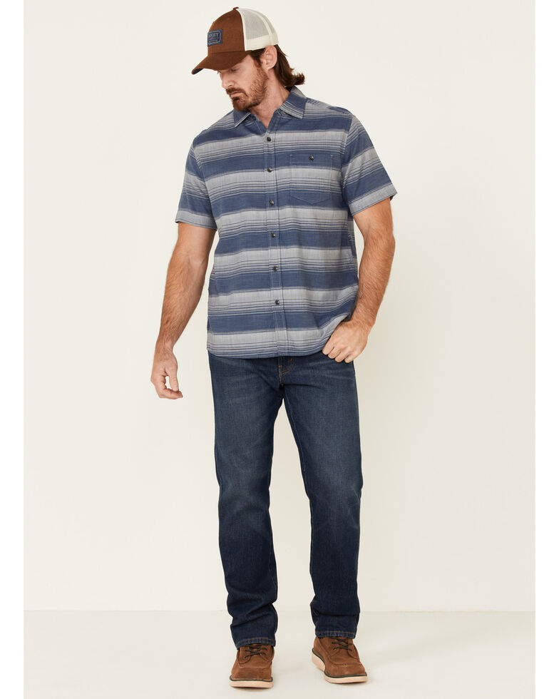 North River Men's Indigo Hombre Stripe Short Sleeve Button-Down Western Shirt , Indigo, hi-res
