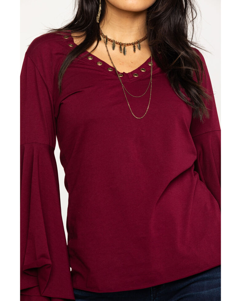 Rock & Roll Cowgirl Women's Extreme Bell Sleeve Rivet Trim Top, Wine, hi-res