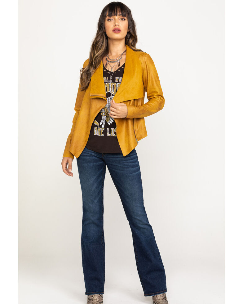 Shyanne Women's Faux Suede Embroidered Jacket, Yellow, hi-res