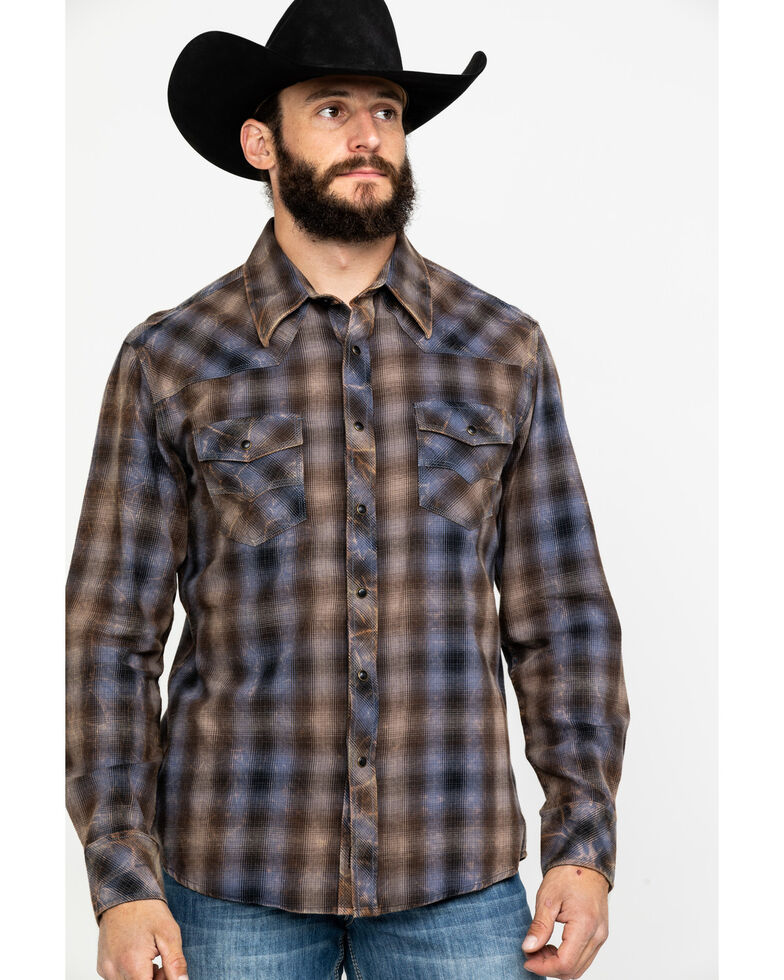 Rock & Roll Cowboy Men's Crinkle Washed Yarn Dye Plaid Long Sleeve Western Shirt , Black, hi-res
