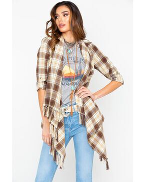 White Crow Women's Plaid Fringe Drape Front Cardigan , Brown, hi-res