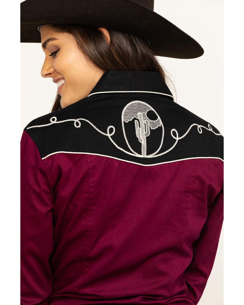 Rock & Roll Cowgirl Women's Retro Embroidered Burgundy Long Sleeve Western Shirt, Burgundy, hi-res