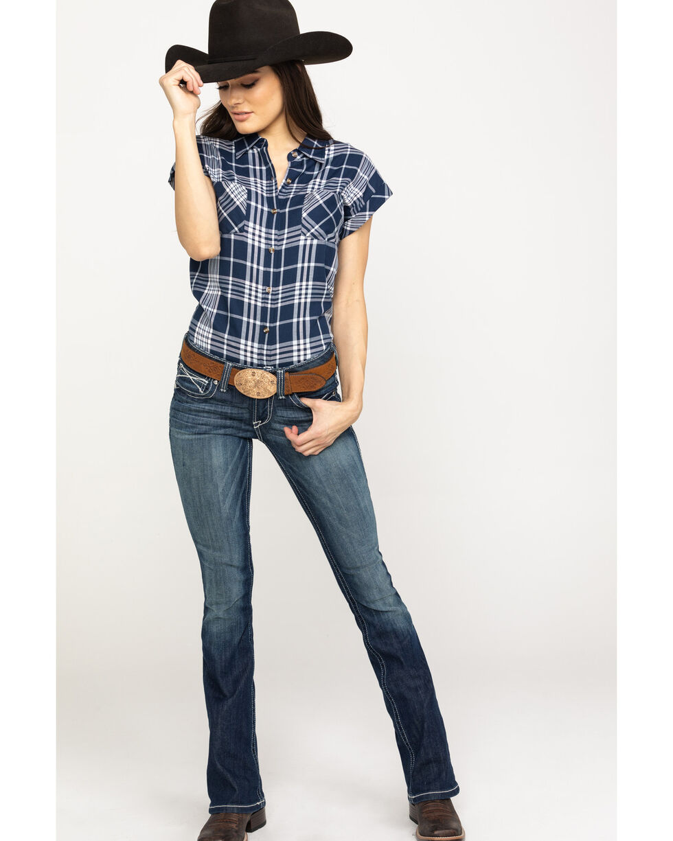 Cumberland Outfitters Women's Navy Plaid Snap Sleeveless Western Top, Navy, hi-res