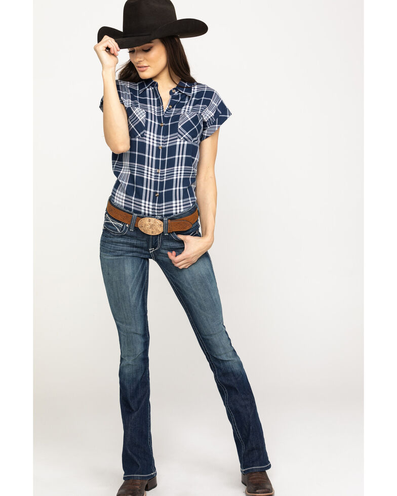 d257fb5f3 Zoomed Image Cumberland Outfitters Women's Navy Plaid Snap Sleeveless  Western Top, , hi-res