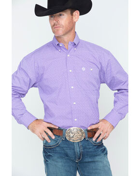 George Strait by Wrangler Men's Purple Geo Print Long Sleeve Western Shirt , Purple, hi-res