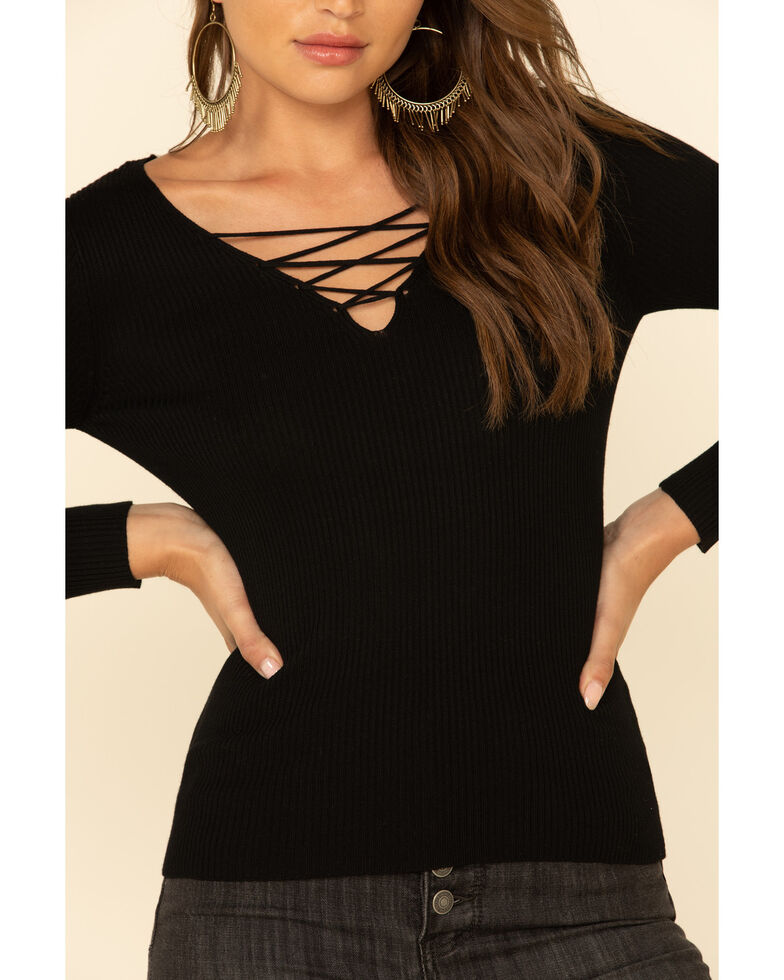 Red Label by Panhandle Women's Lace Up Ribbed Sweater, Black, hi-res