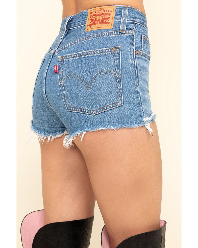 Levi's Women's Light Wash High Rise Raw Hem Shorts, Blue, hi-res