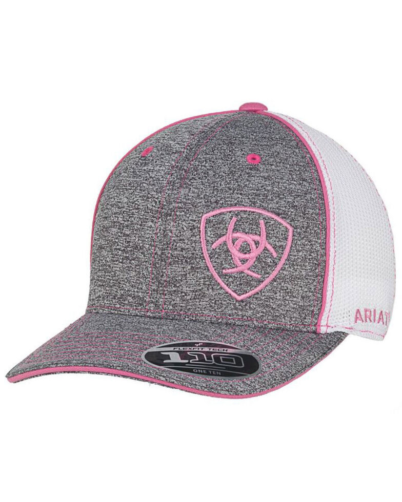 Ariat Women's Grey Offset Shield Logo Embroidered Mesh Ball Cap   , Grey, hi-res