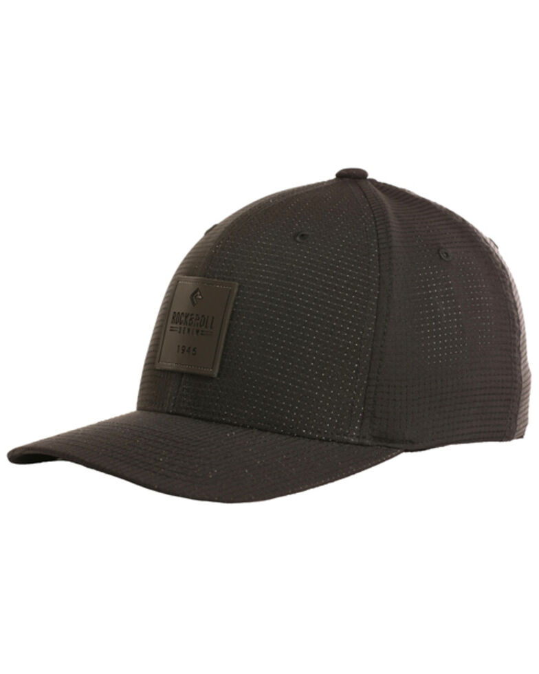 Rock & Roll Cowboy Men's Rubber Patch Flexfit Cap, Black, hi-res