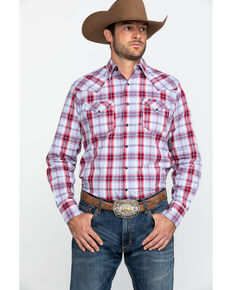 Roper Men's Made West Sandstone Plaid Long Sleeve Western Shirt , Red, hi-res