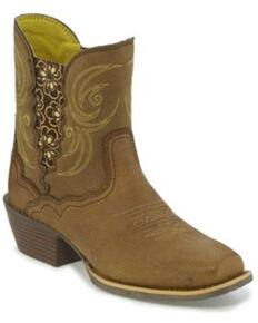 Justin Women's Chellie Brown Western Booties - Square Toe, Tan, hi-res