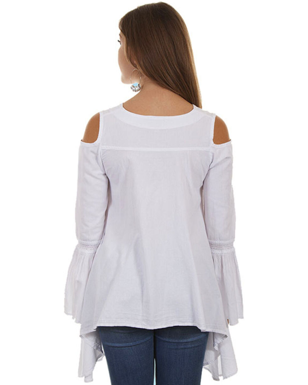 Cantina by Scully Women's Tie Front Cold Shoulder Tunic Top , White, hi-res