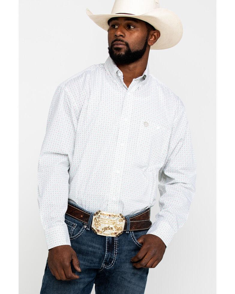 George Strait by Wrangler Men's Small Circle Geo Print Long Sleeve Western Shirt , White, hi-res