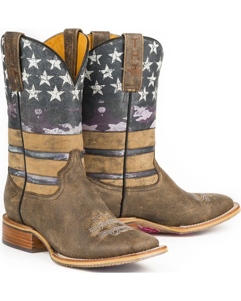 Tin Haul Women's American Woman Cowgirl Boots - Square Toe, Brown, hi-res