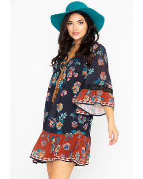 Flying Tomato Women's Floral Border Print Dress , Black, hi-res