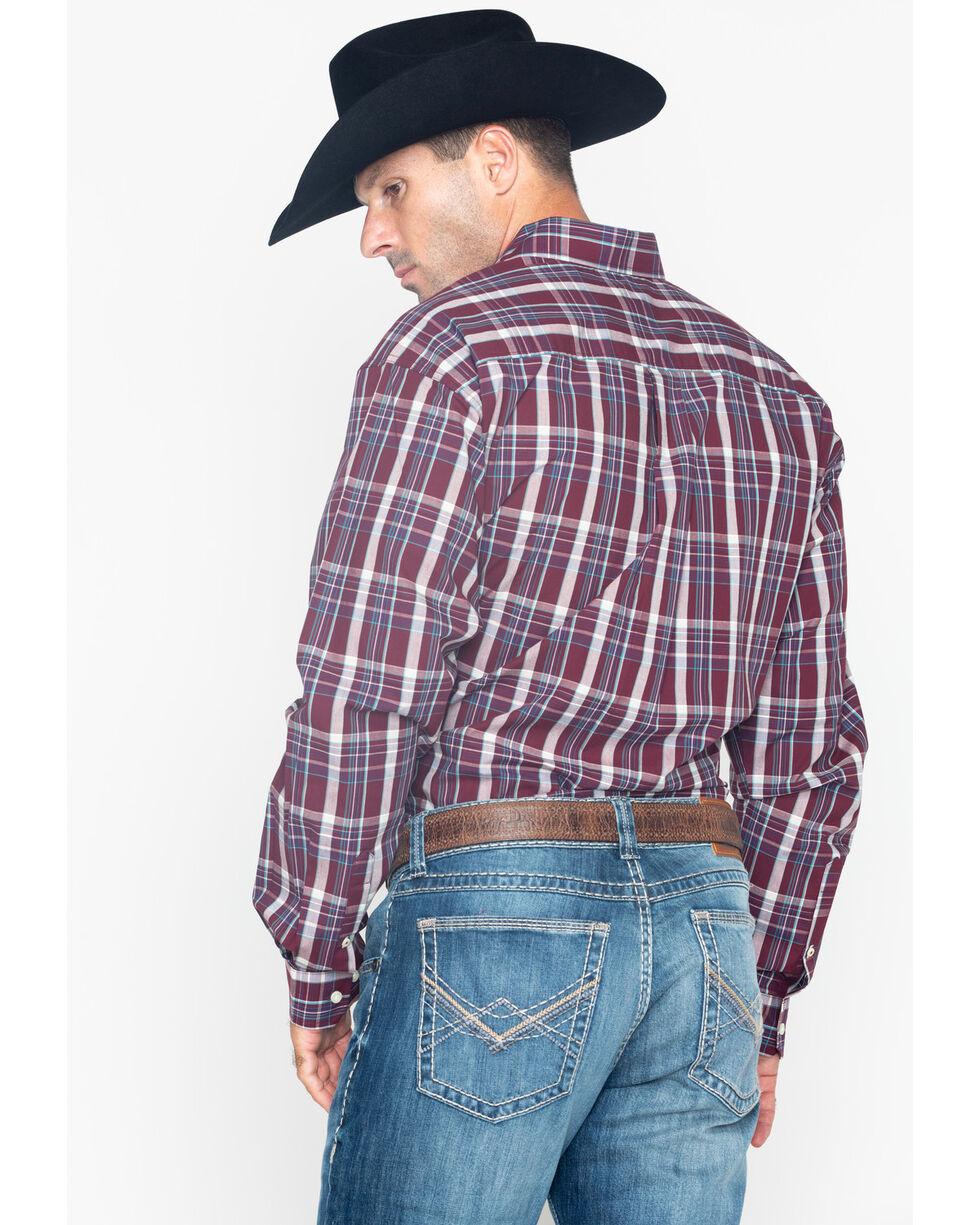 Cinch Men's Burgundy Plaid Long Sleeve Button Down Western Shirt, Burgundy, hi-res