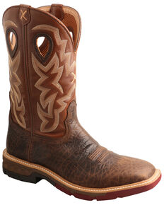 Twisted X Men's Brown Western Work Boots - Soft Toe, Brown, hi-res