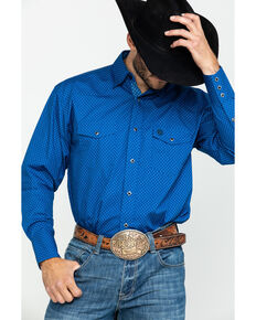 George Strait By Wrangler Men's Blue Dot Geo Print Long Sleeve Western Shirt , Blue, hi-res