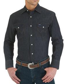Wrangler Men's Advanced Comfort Stretch Denim Long Sleeve Work Shirt - Tall , Blue, hi-res