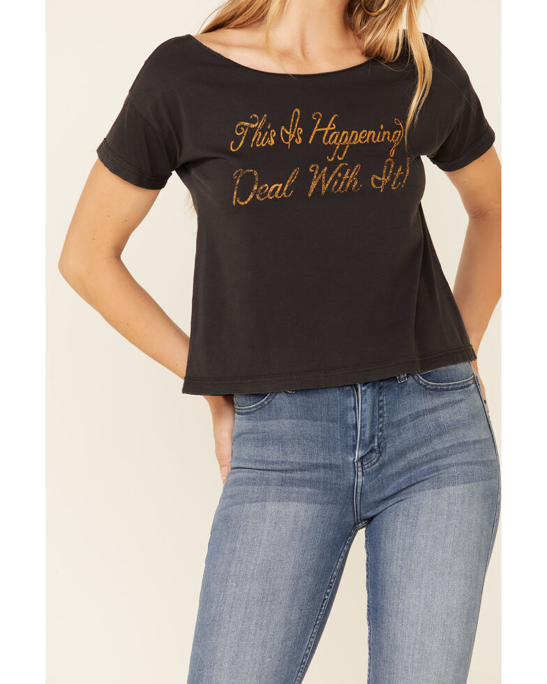 Idyllwind Women's Deal With It Graphic Trustee Tee  , Black, hi-res