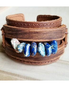 Jewelry Junkie Women's Regalite Gemstone Pearl Dusty Leather Cuff Bracelet, Navy, hi-res