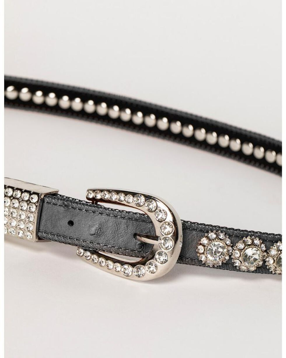 Shyanne Women's Rhinestone Belt, Black, hi-res