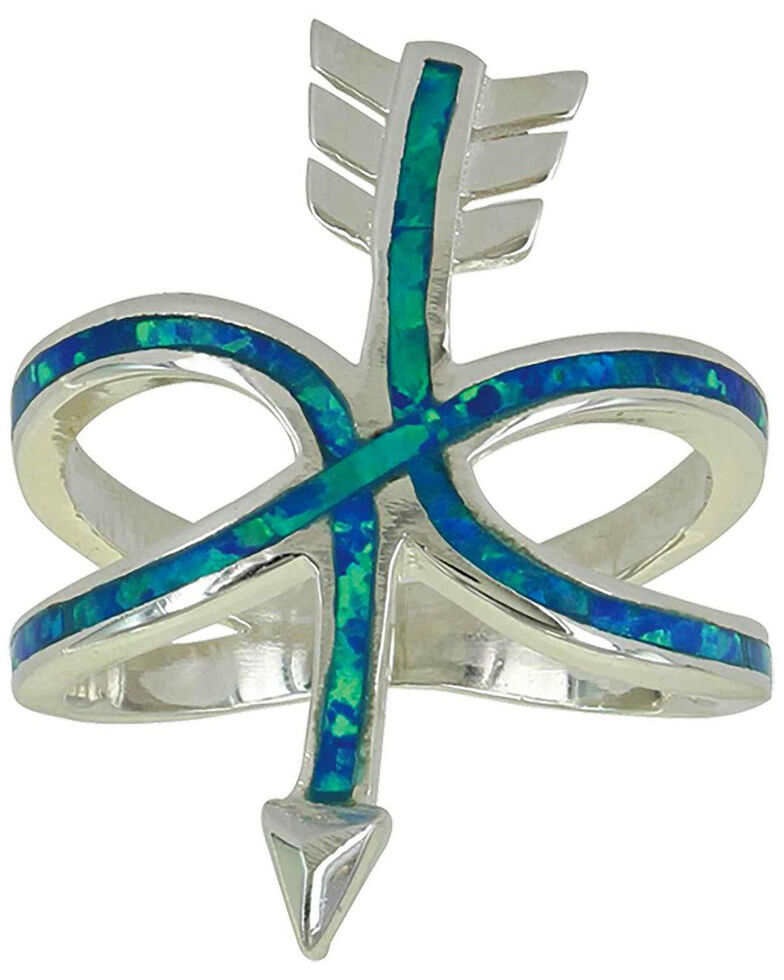 Montana Silversmiths Women's Any Which Way Arrow Opal Ring - Size 9, Silver, hi-res