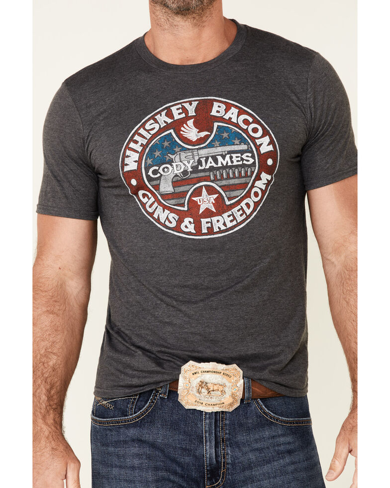Cody James Men's Whiskey Bacon Graphic Short Sleeve T-Shirt , Charcoal, hi-res
