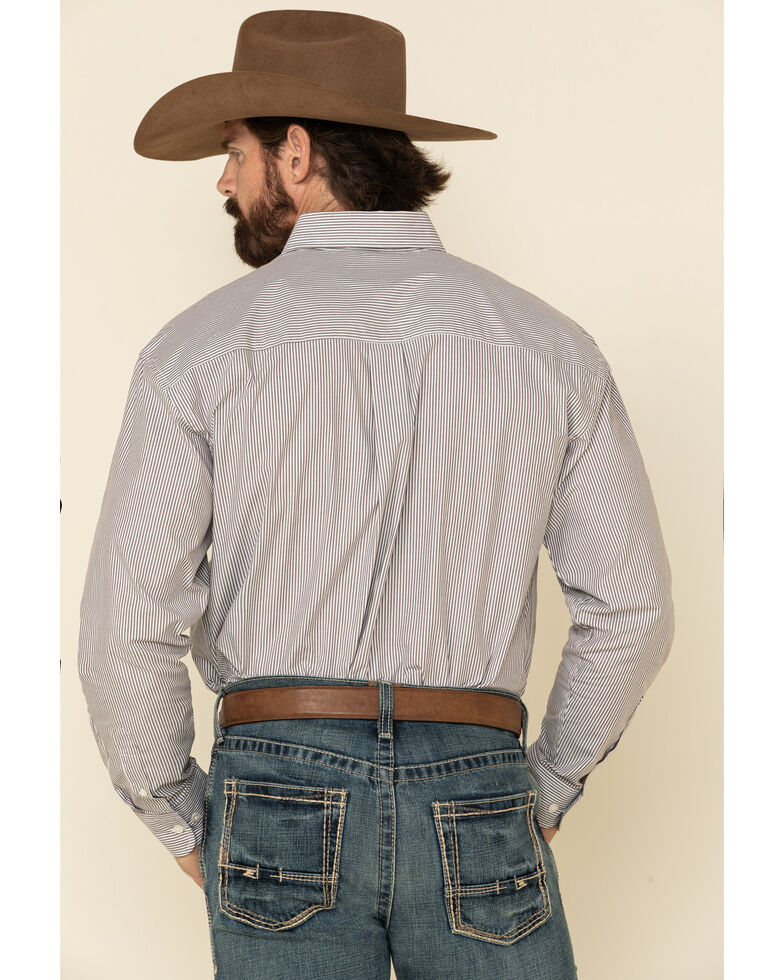 George Strait By Wrangler Brown Small Striped Long Sleeve Western Shirt , Brown, hi-res