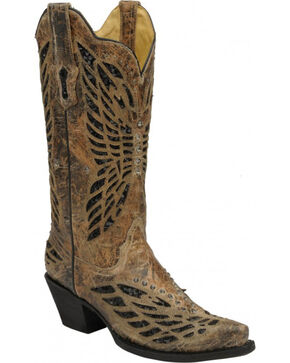 Corral Crystal Butterfly Cowgirl Boots - Snip Toe, Bronze, hi-res