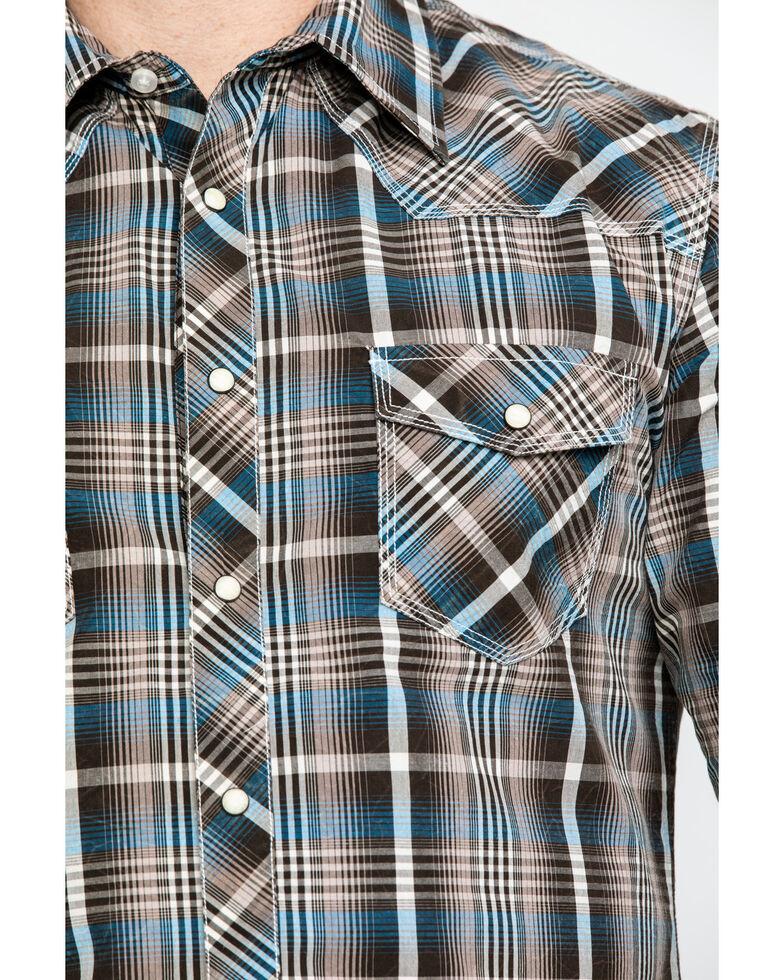Rock & Roll Denim Men's Teal Washed Yarn Dye Plaid Short Sleeve Western Shirt  , Teal, hi-res