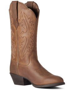 Ariat Women's Distressed Brown Heritage R Toe Stretch Fit Full-Grain Western Boot - Round Toe, Brown, hi-res