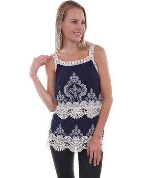 Honey Creek by Scully Women's Navy Crochet Tank Top, Navy, hi-res