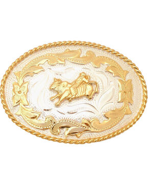 Western Express Men's Gold Small Bullrider Belt Buckle , Silver, hi-res